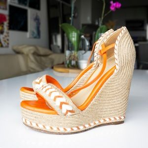 Gucci Orange Tiffany Wedge Platform Sandals